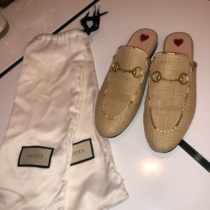 Authentic Gucci Women Princetown Raffia Slippers